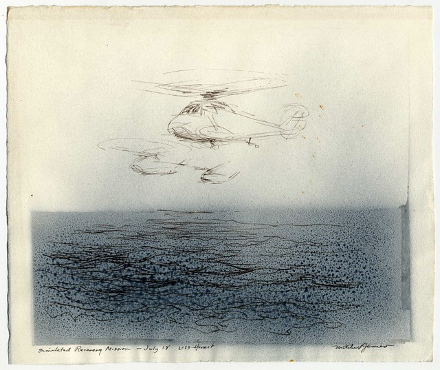 Simulated Recovery Mission (pen, ink + airbrushed ink on paper) 1969 by Mitchell Jamieson