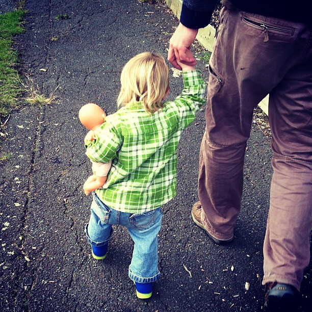Tiny walking with Dada and her baby #toddler #love #loveher #supercute #walking @berondi