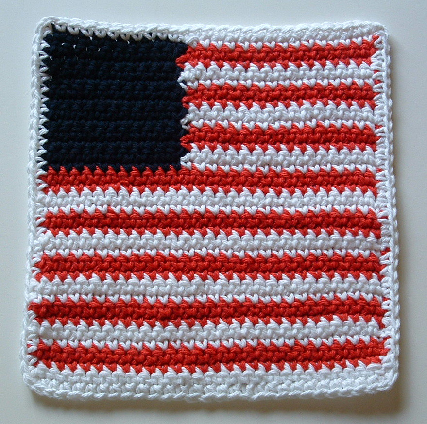 Flag Washcloth Or Dishcloth Pattern My Recycled Bags