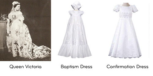 Queen Victoria in a white wedding dress next to a white confirmation and baptism dress