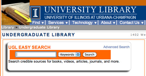 screenshot of UGL homepage with easy search bar highlighted