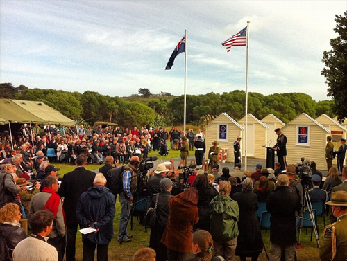LTC Steven Johnson addressing the crowd at the Kapiti Coast Memorial Service today.