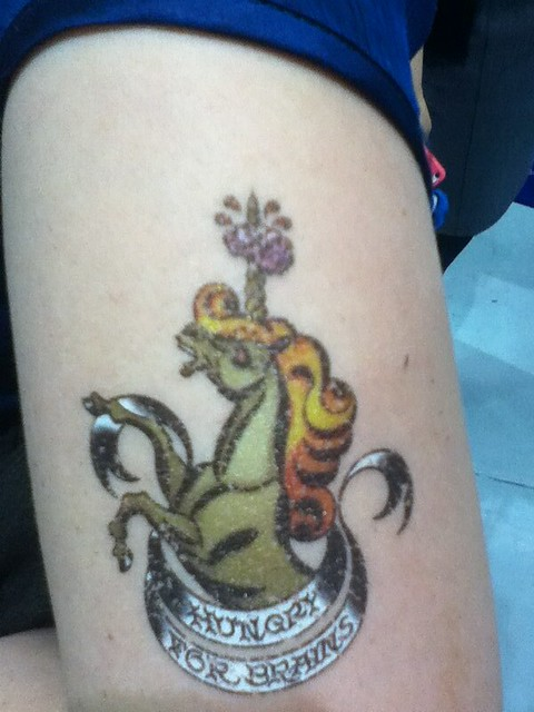 Zombie unicorn temp tattoo flickr photo sharing for Zombie tattoo machine