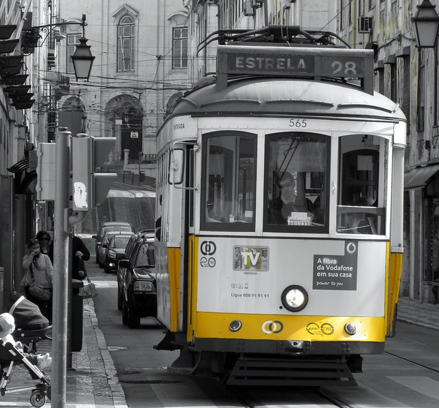 Famous yellow tram 28, Lisbon, Portugal