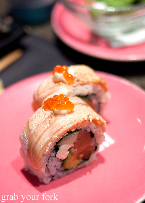 Aburi salmon inside out roll at Umi Kaiten-Zushi