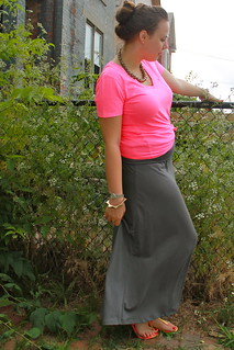 Tickled pink outfit: neon pink pocket v-neck tee from Gap, gray jersey maxi skirt, J.Crew pavé cable link bracelet, signet ring, gold-ball ring, sunburst bangle, Dolce Vita T-strap sandal, etc.