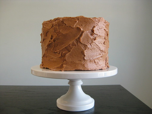 chocolate-vanilla layer cake with raspberry filling and chocolate mousse buttercream