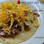 spicy pulled pork tostadas with cumin lime slaw