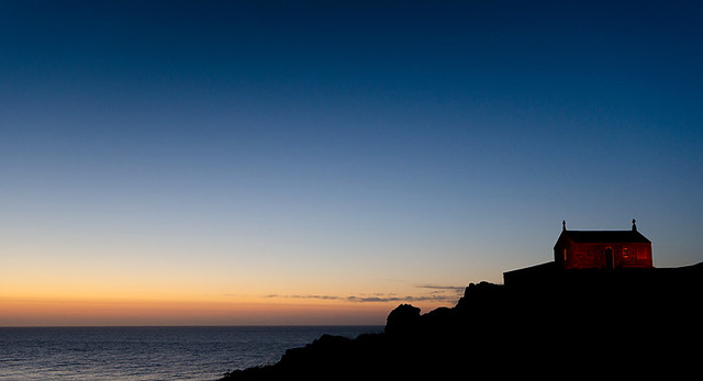 St Ives Chapel At Sunset