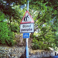 Look out! Blind People cycling