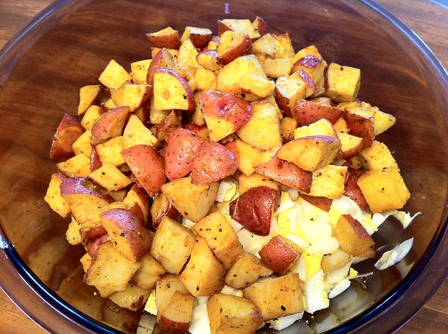 Roasted Potatoes added to Salad