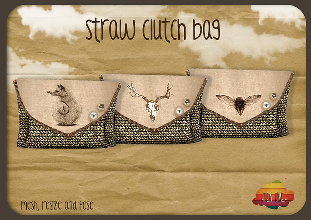 STRAW CLUTCH BAG *Tea Time* NEW!!!!!