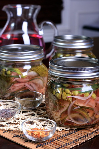 Easy Refrigerator Pickles with Flowering Chives
