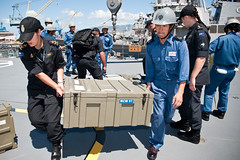 RNZN  Hydrographic Survey Team members load equipment and put together a RHIB with personnel of the Japanese ship BUNGO in Honolulu