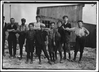 A few of the young boys working on the night shift at the Alexandria Glass Factory, June 1911