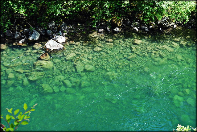 clear blue water of Clackamas River