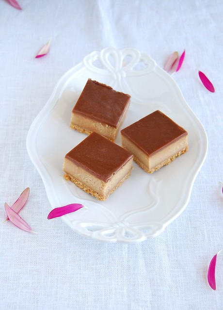 Chocolate peanut butter cheesecake squares / Quadradinhos de cheesecake de manteiga de amendoim e chocolate