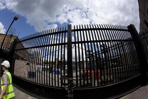 Gate between News International and Tobacco Dock