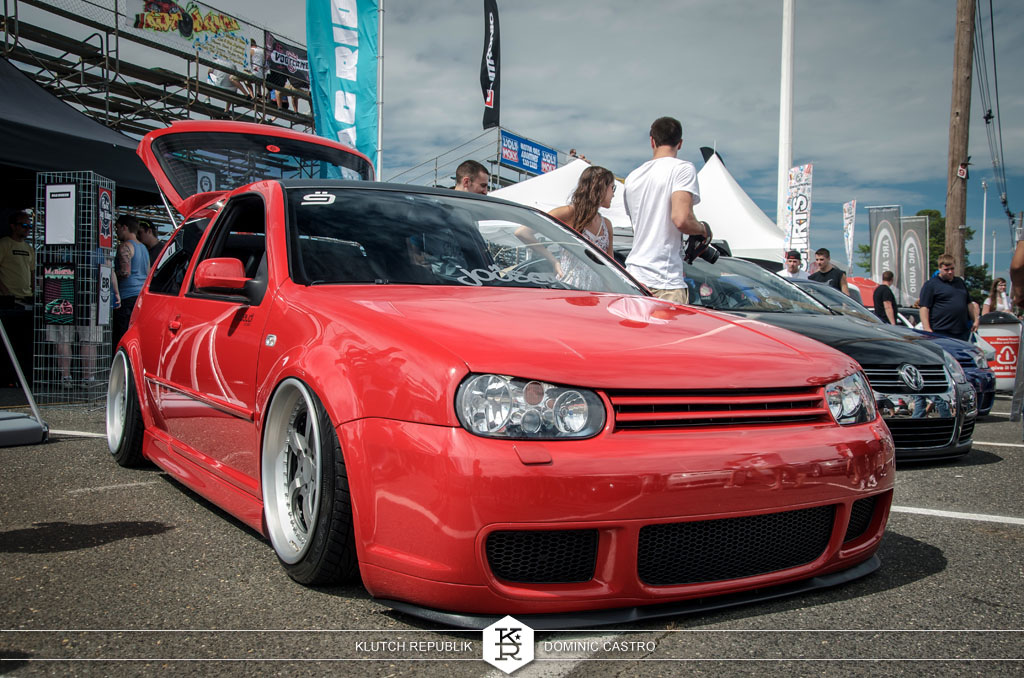 red mk4 golf gti r32 watercooled ind bag riders joosey dubaudi  at waterfest 18 2012 3pc wheels static airride low slammed coilovers stance stanced hellaflush poke tuck negative postive camber fitment fitted tire stretch laid out hard parked seen on klutch republik