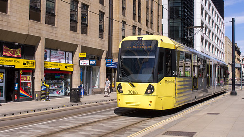Manchester Metrolink 3018 on Mosley Street