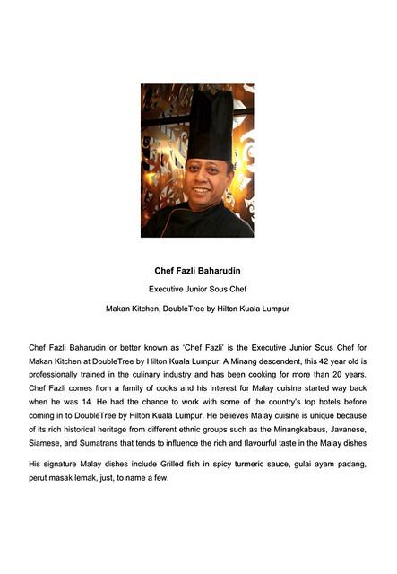 Chef Fazli Baharudin Bio