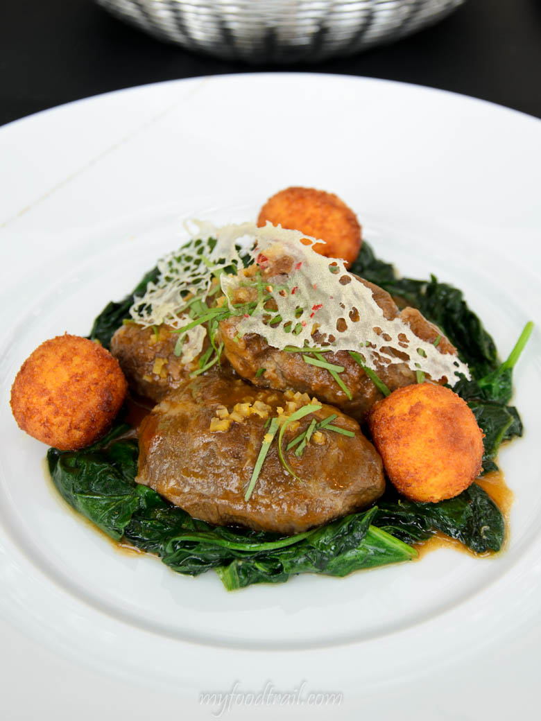 Joel Robuchon au Dome, Macau - Pork cheeks with wilted spinach