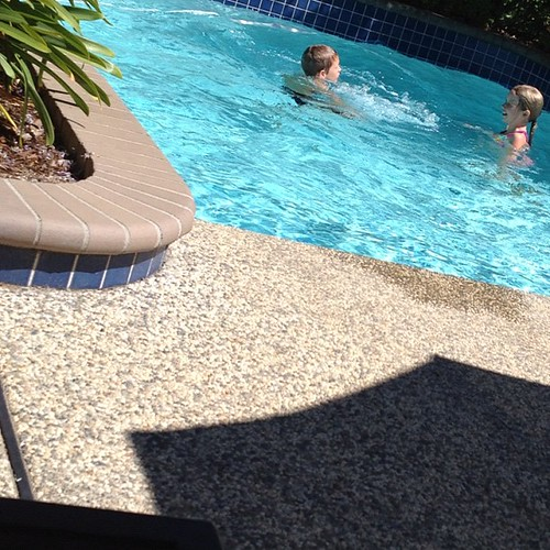 Monkey swim.