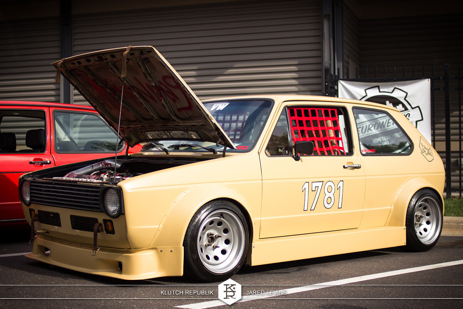 mk1 vw golf rabbit gti racecar scca spec turbo  euroworks 6 2012 3pc wheels static airride low slammed coilovers stance stanced hellaflush poke tuck negative postive camber fitment fitted tire stretch laid out hard parked seen on klutch republik