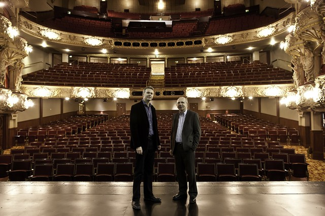 Cllr Richard Lewis and Duncan Hendry on the stage of the King's Theatre, with the new seats in the background. Photo © Peter Dibdin