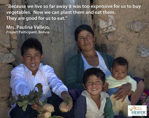Bolivian family with vegetables