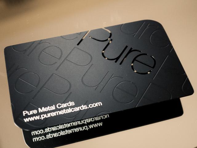 Pure Metal Cards Matte black metal business card