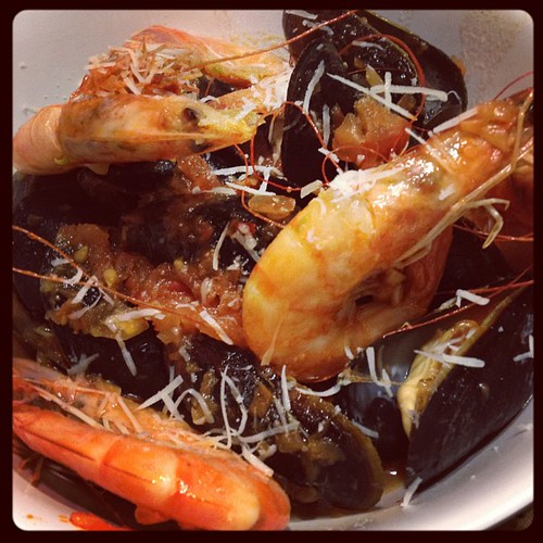 Seafood fest! Mussels in spicy red sauce and sautéed shrimp. Home cooked #grain #free (not quite #paleo) goodness.