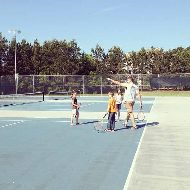 It's a tennis lesson kinda morning. #unschooling