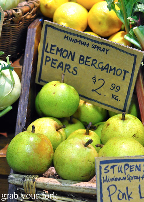 Lemon bergamot pears at Adelaide Central Market