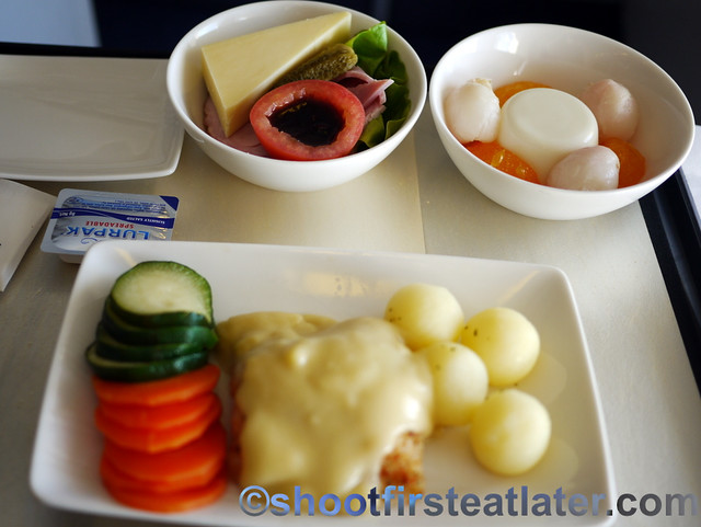 Philippine Airlines Meals- steamed fish in mango coconut cream sauce