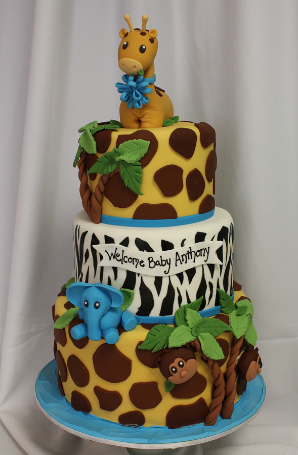 Giraffe And Jungle Baby 3 Tiered Custom. Fox Woodland Birthday Cake