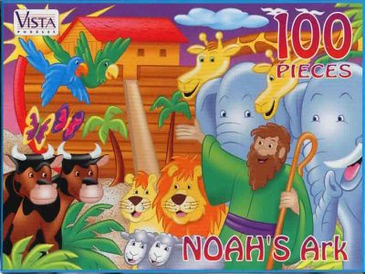 "VISTA PUZZLES :: ""NOAH'S Ark"" - 100 Piece Jigsaw Puzzle { Art by Hatten & Brown } (( 199x ))"