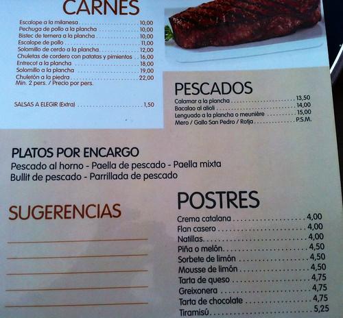 Sant Jordi de ses Salines, Ibiza | Bar Restaurante Las Olas | Carta