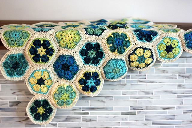 African Flower Hexagon blanket in progress