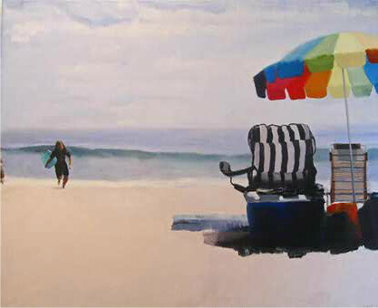 "Stephen Coyle, Striped Beach Chair, alkyd on linen, 40"" x 48"""