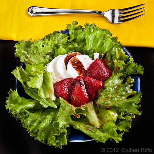 Roast Strawberry Salad with Goat Cheese, Overhead View with Fork and Yellow Napkin