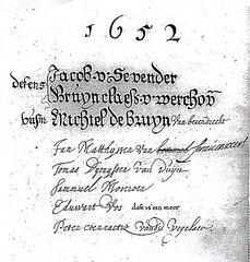 <p>Eduard Abrahamszn. van Akaboa leefde in de tweede helft van de 17e eeuw in de Drieharingsteeg. Als vrijgekochte slaaf werkte hij als zilversmid en wapengraveeerder. In het gildeboek van 1652 staat bij Eduwart Vos vermeldt: dit is een moor.</p>