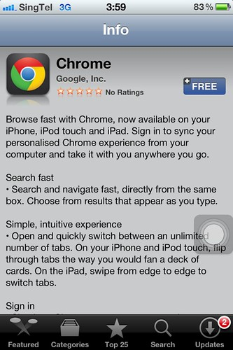 Google Chrome iOS in App Store