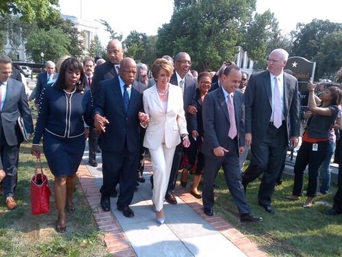 Terri Sewell, John Lewis, Nancy Pelosi lead walkout