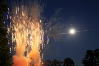 Fireworks and (almost full) moon