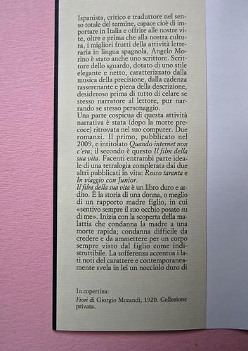 Angelo Morino, Il film della sua vita, Sellerio 2012. [resp. grafica non indicata]. Risvolto di copertina (part.), 1
