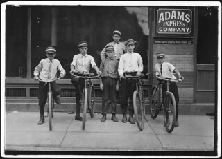 A typical group of Postal Messengers. Smallest on left end, Wilmore Johnson, been there one year, June 1911