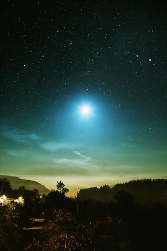 無料写真素材, 自然風景, 空, 夜空, 月, 星, 風景  デンマーク