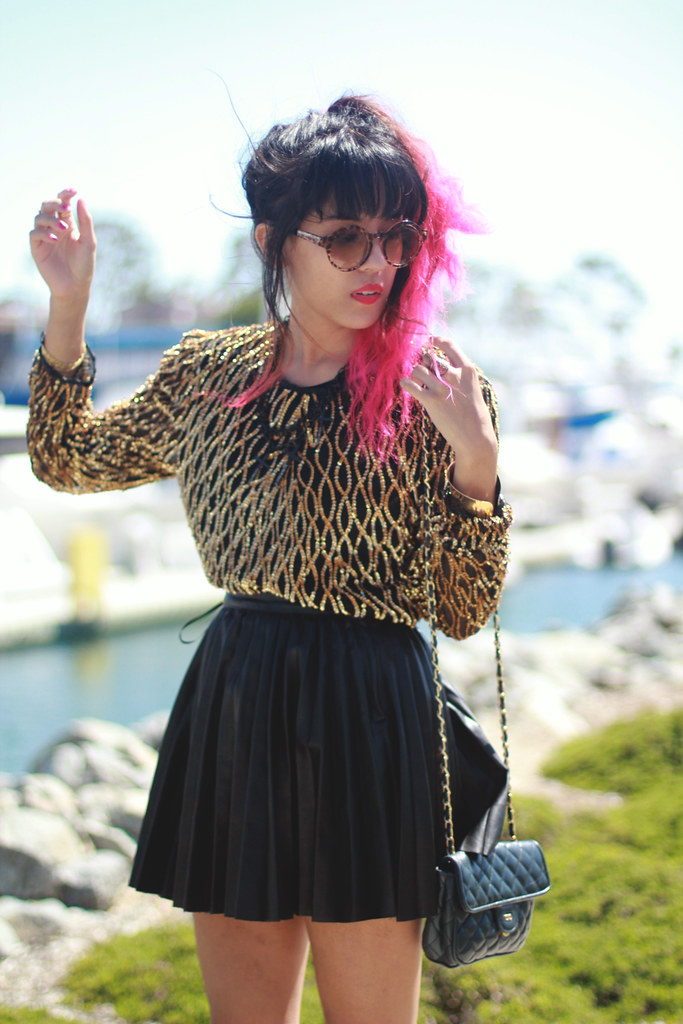 Tarte Vintage sequin jumper and tortoise sunglasses from shoptarte.com, pleated vegan leather jacket c/o Beginning Boutique, vintage Chanel-inspired purse, dip dyed pink ombre hair