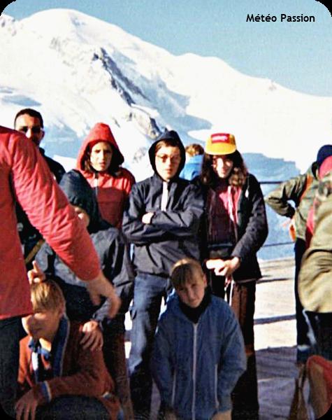 excursion dans le massif du Mont-Blanc au sommet de l'aiguille du Midi, par le froid de juillet 1978 météopassion